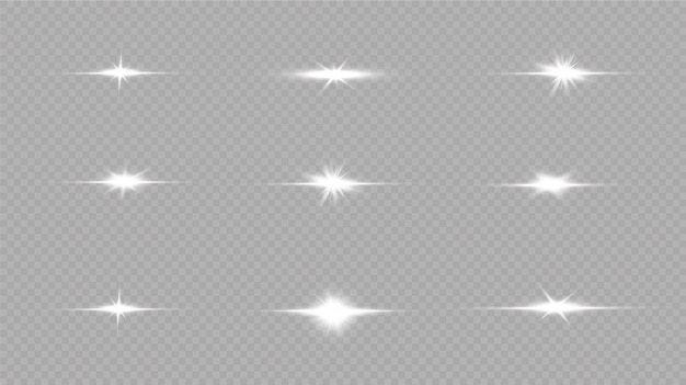 Shine starlight isolated on transparent background. glowing light effect.set of flashes, lights and sparkles on a transparent background. bright gold flashes and glares.