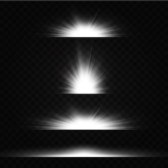 Блеск звездного света на прозрачном фоне. светящийся эффект света. набор вспышек, огни и блестки на прозрачном фоне.
