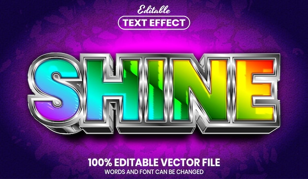 Shine text, font style rainbow editable text effect