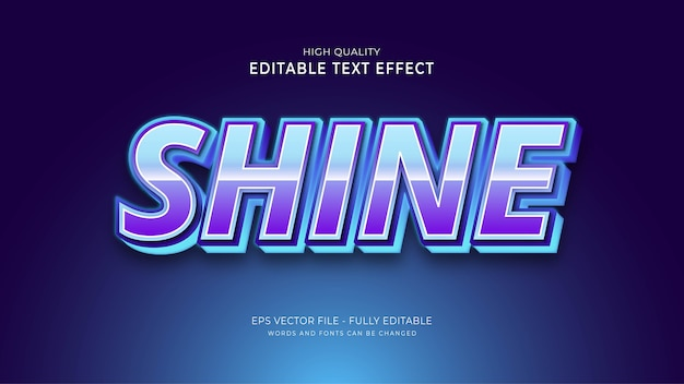 Shine text style effect. editable font effect.