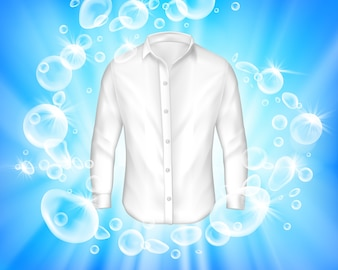 Shine white shirt surrounded by soap bubbles