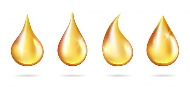 노란 방울이 빛납니다. 현실적인 기름 흰색 배경에 삭제합니다. 액체 드립 주스 꿀 휘발유 프리미엄 벡터
