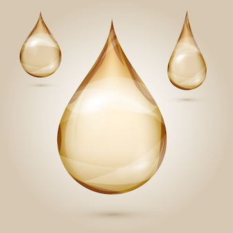 Shine yellow oil drops isolated illustration