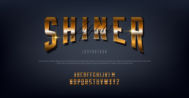 Shiner gold letters typography regular font digital and classic concept