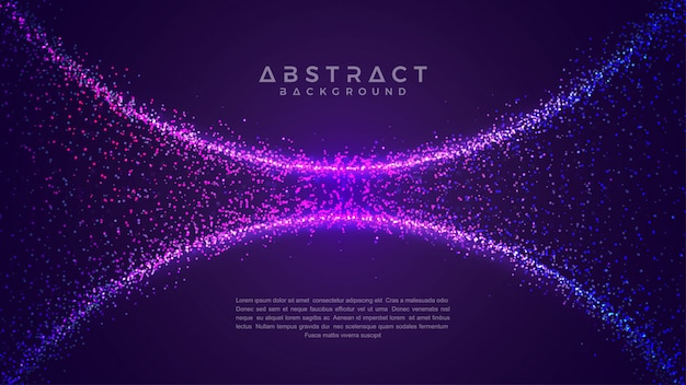 Shining abstract particle flow background.