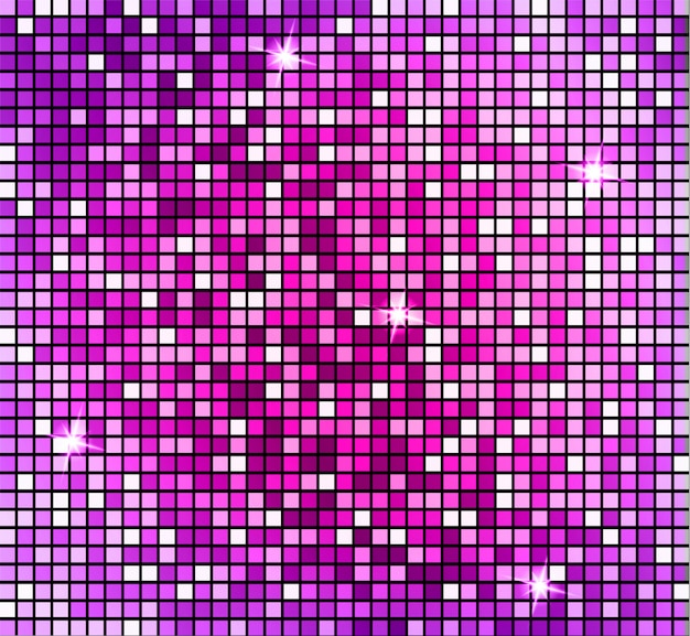 Shining abstract pink mosaic background. shiny mosaic in disco ball style.
