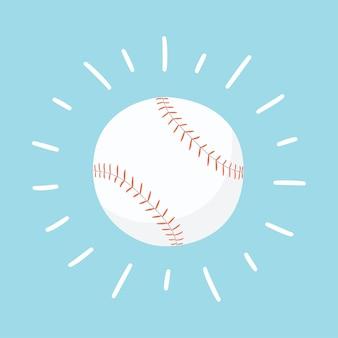 輝く野球ボール。手描きイラスト