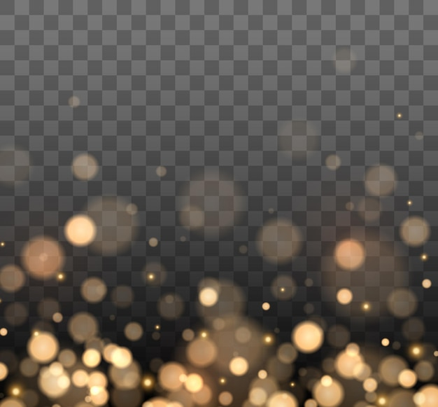 Shining bokeh isolated on dark background golden bokeh lights with glowing particles