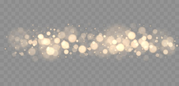 Shining bokeh isolated on grey background golden bokeh lights with glowing particles