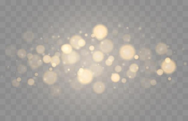 Сияющие боке, изолированные на прозрачном фоне, золотые огни боке со светящимися частицами, изолированные ...