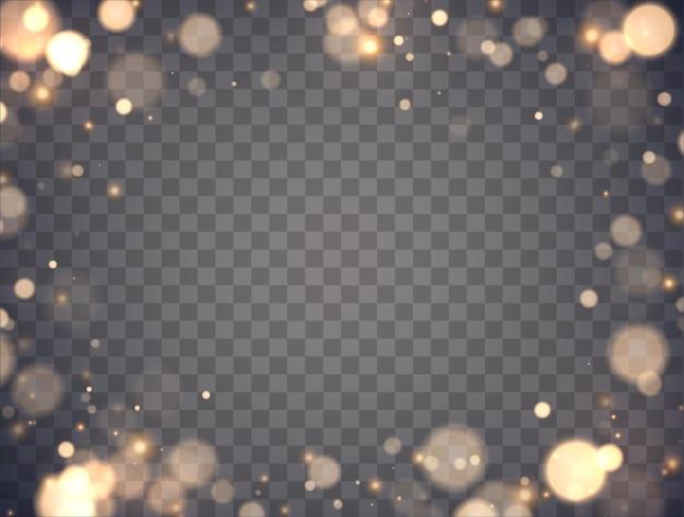 Сияющий боке, изолированные на прозрачном фоне золотые огни боке со светящимися частицами
