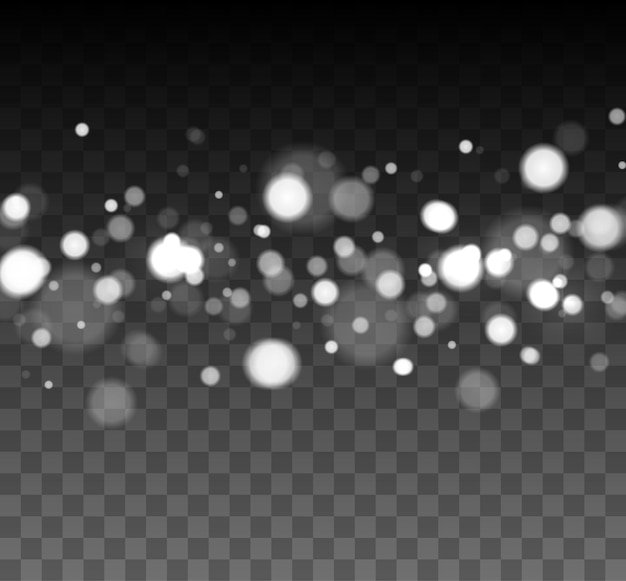 Shining bokeh isolated on transparent background bokeh lights with glowing particles isolated christ...