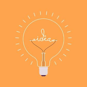 내부 단어 아이디어와 빛나는 전구