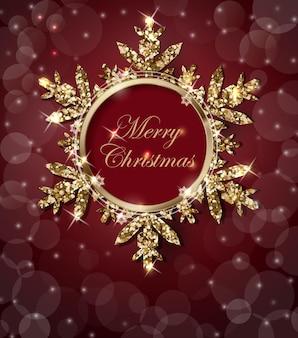 輝くゴールドのスノーフレークと輝くクリスマスの背景雪片とクリスマスの背景
