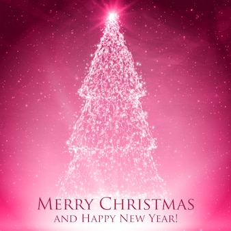 Shining christmas trees on colorful red greeting card with backlight and glowing particles.
