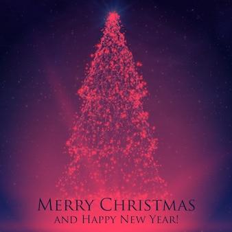 カラフルな背景にバックライトと輝く粒子で輝くクリスマスツリー。抽象的なベクトルの背景。輝くモミの木。あなたのためのエレガントな輝く背景デザイン。