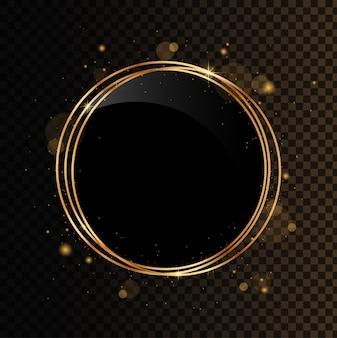 輝くサークルバナー。ブラックミラー付きのゴールドの幾何学的な多面体。黒の透明な背景で隔離。