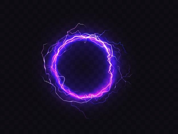 暗い背景で隔離された紫色の照明の輝く円。