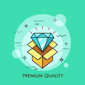 빛나는 다이아몬드와 열린 골판지 상자가는 선 그림