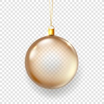 透明な背景に分離された輝くガラスのクリスマス安物の宝石イラスト