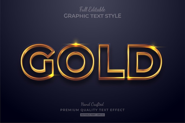 Shining gold editable text effect font style