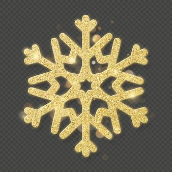 Shining gold snowflake overlay object.