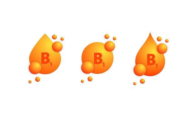 化学式で物質またはビタミン複合体の輝く黄金の滴