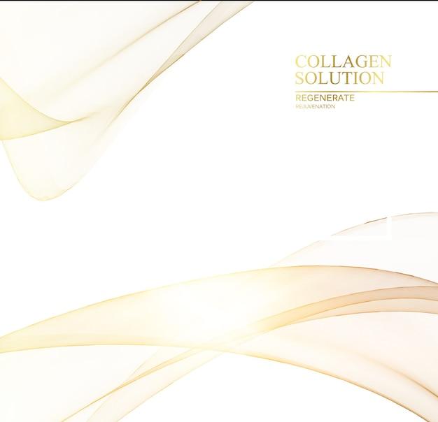 Shining golden lines over white background.