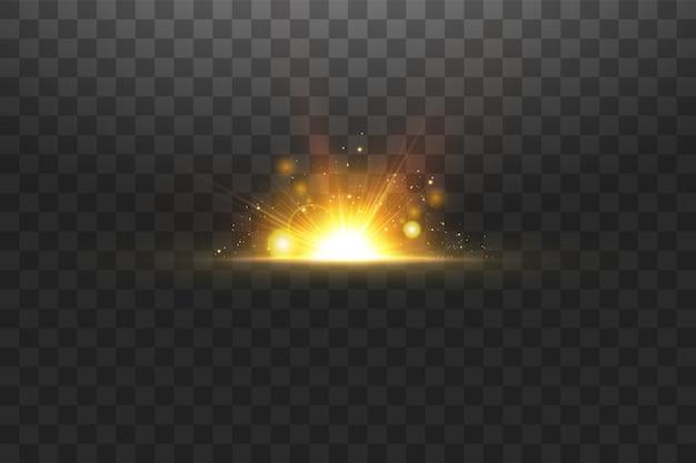 輝く黄金の星。エフェクト、グレア、ライン、キラキラ、爆発、金色の光。