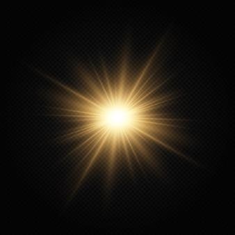 Сияющая золотая звезда световой эффект яркая звезда рождественская звезда золотой светящийся свет взрывается.