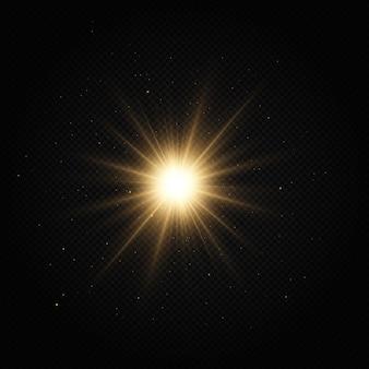 Сияющая золотая звезда световой эффект яркая звезда рождественская звезда золотой светящийся свет взрывается