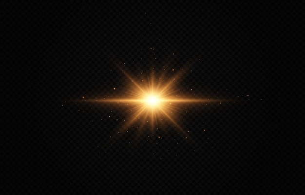 Shining golden star light effect bright star christmas star gold glowing light explodes