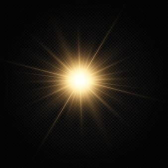 Shining golden star light effect bright star christmas star golden glowing light explodes