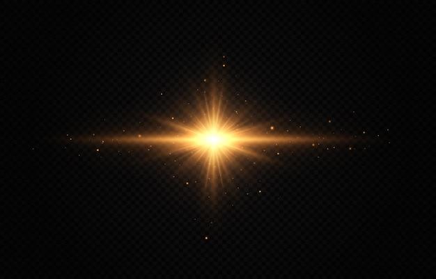 Shining golden star light effect bright star christmas star