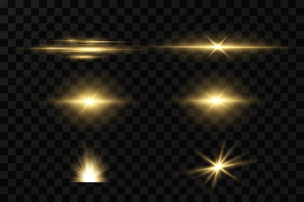 Shining golden stars  on black background. effects, glare, lines, glitter, explosion, golden light.  illustration.set.