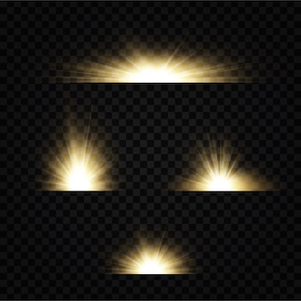 Shining golden stars  on black background. effects, glare, lines, glitter, explosion, golden light.  illustration