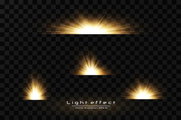 Shining golden stars  on black background. effects, glare, lines, glitter, explosion, golden light.  illustration