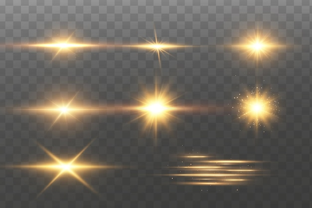 Сияющие золотые звезды. эффекты, блики, линии, блеск, взрыв, золотой свет.