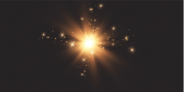 Shining golden stars isolated on black background. effects,glare, lines, glitter, explosion, golden light.  illustration