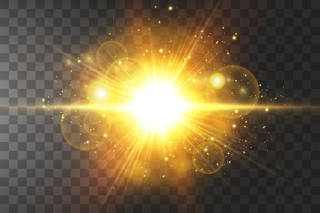 Shining golden stars isolated on black background. effects, glare, lines, glitter, explosion, golden light.