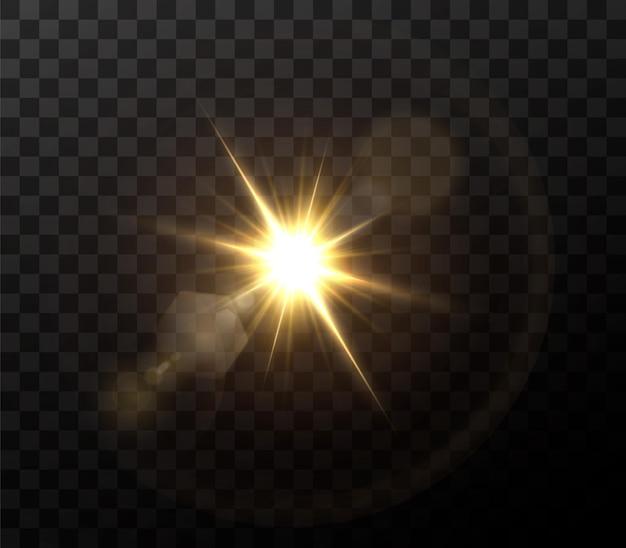 Shining golden stars isolated on black background. effects, lens flare, shine, explosion, golden light, set. shining stars, beautiful golden rays.