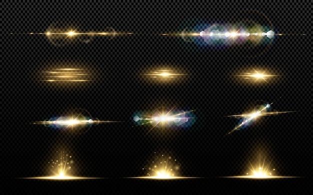 Shining golden stars isolated on black background. effects, lens flare, shine, explosion, golden light, set. shining stars, beautiful golden rays.  .