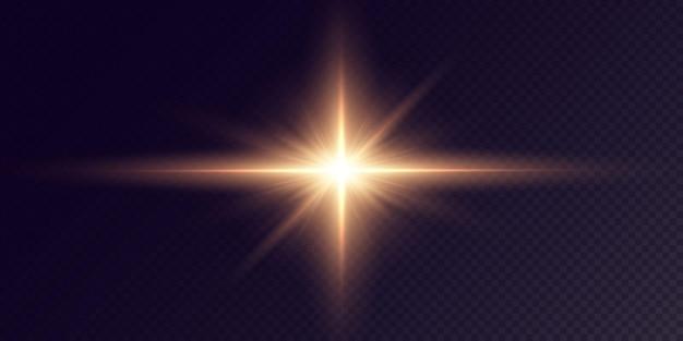 Shining golden stars isolated on black background  festive set light star laser abstract