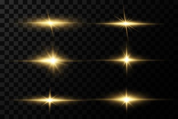 Shining golden stars isolated on black background