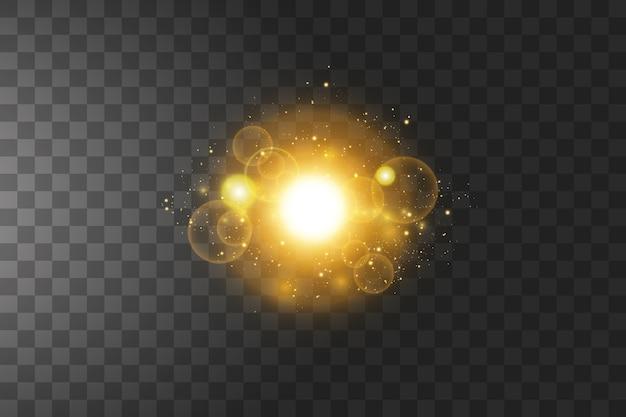 孤立した輝く黄金の星。エフェクト、グレア、ライン、キラキラ、爆発、金色の光