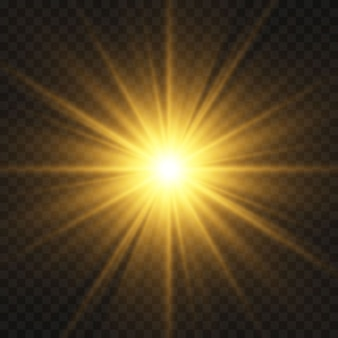 黒の背景に分離された輝く黄金の星。エフェクト、グレア、ライン、キラキラ、爆発、金色の光。図