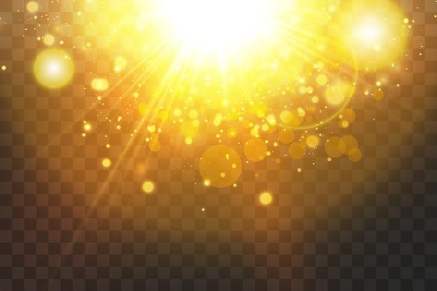 黒の背景に分離された輝く黄金の星。エフェクト、グレア、ライン、グリッター、爆発、黄金色の光。
