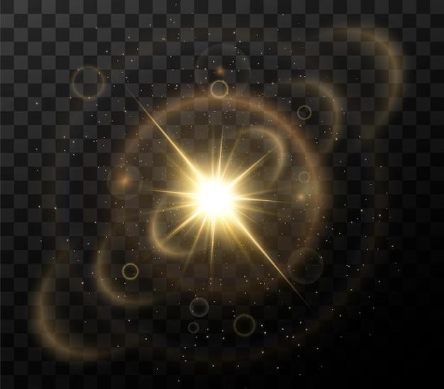 빛나는 황금 별 검은 배경에 고립. 효과, 렌즈 플레어, 광택, 폭발, 황금빛, 세트. 빛나는 별, 아름다운 황금빛 광선.