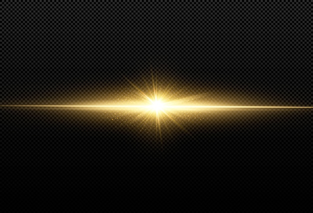 黒の背景に分離された輝く黄金の星。エフェクト、レンズフレア、輝き、爆発、黄金の光、セット。輝く星、美しい黄金色の光線。 。