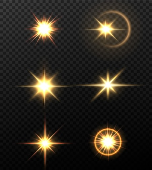 黒の背景に分離された輝く黄金の星。エフェクト、レンズフレア、輝き、爆発、金色の光、セット。輝く星、美しい金色の光線。